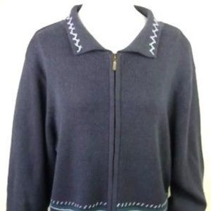 Woolrich Zip Front Embroidered Cardigan Sweater